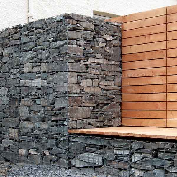Landscape design edinburgh scottish gardens Gabion wall design
