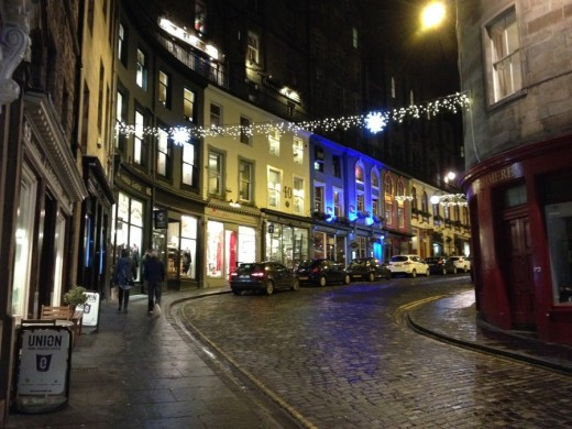 Victoria Street Edinburgh Old Town at night