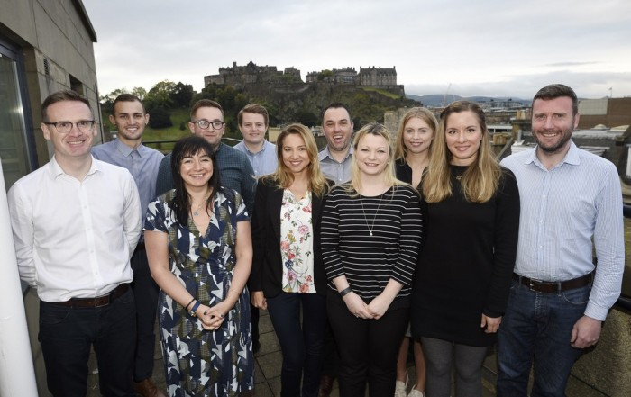 Stuart Bishop with new recruits at Barton Willmore Edinburgh office