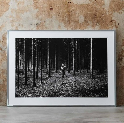 Black and white photo wall art for interior girl woods